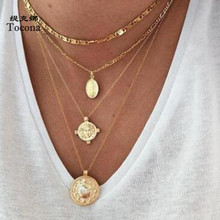 Tocona Bohemia New Arrival Virgin Mary Round Pendnat Necklace Gold Color Chain Chokers Necklace Jewelry For Women Ladies 7100 docona bohemia new fashion round cross moon star shape gold color chokers chains necklace pendant for women ladies jewelry