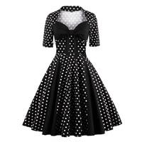 Frauen schwarz weiß polka dot dress bow neck patchwork 50 s 60 s audrey hepburn stil rockabilly schwingen sommer dress 4xl vestidos