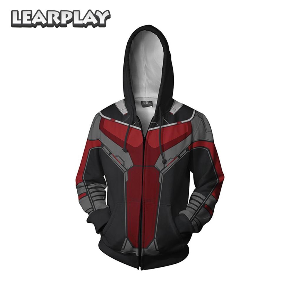 2018 Ant Man Wasp Zipper Hoodies Superhero 3D Printed Sweatshirt Ant-man Streetwear Hip Hop Mens Hooded Jacket Adults Coat