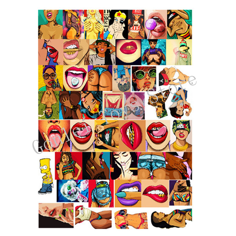47PCS Mixed Vulgar Sexy Beauty Stickers Phone Skateboard Doodle Decal Home Decor Toy Luggage Laptop Car Styling Waterproof Toys in Stickers from Toys Hobbies