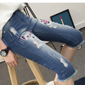Новая коллекция весна и лето середины талии Усы Эффект синий свободные джинсы шаровары случайные штаны большие двор стрейч брюки ноги XL 5XL
