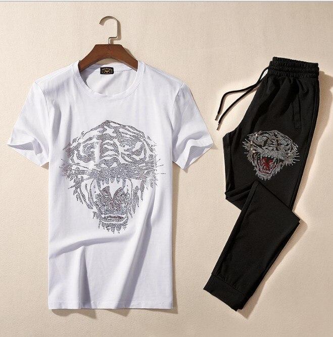 Brand New Novelty Hot diamond Tiger goat Men Running Sportswear Tracksuits Men's Sets (tee shirt + pants) Top TEES #L113 - 5