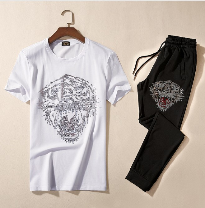 Brand New Novità di diamante Caldo Tigre di capra Uomini Corsa e Jogging Tute Abbigliamento Sportivo degli uomini di Set (tee shirt + pants) top TEES # L113 - 5