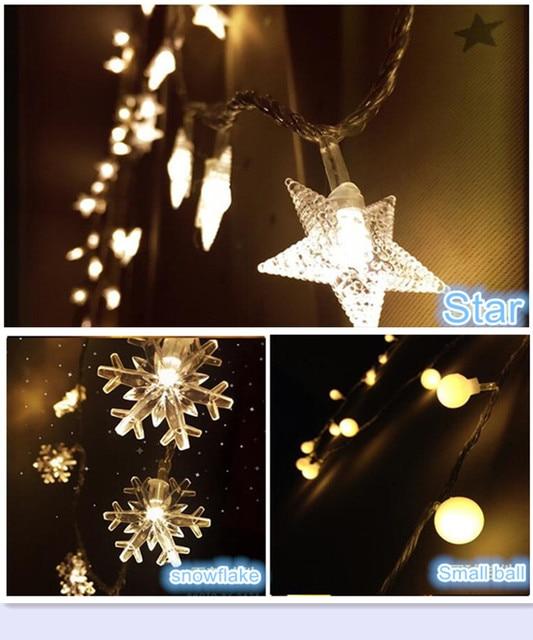 2M LED Portable fairy string lights snowflake/star/small ball ...