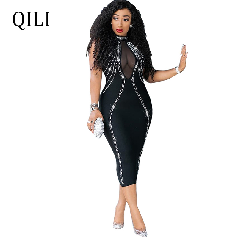 QILI Women Sexy Party Dress Sleeveless Backless Diamonds Rhinestone Dresses Black See Through Mesh Bodycon Dress Famme XXL