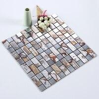 Wholesale 11 Pieces DIY Metal Peel and Stick Mosaic Tiles for Kitchen Backsplash 30X30cm Large Mosaic Tile Mirror for Bathroom