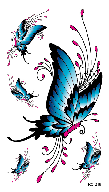 RC2219 Waterproof Temporary Tattoo Sticker Butterfly Design Fake Tattoo Women Sexy Chest Tattoo Scars Cover Flash Tattoo Decal