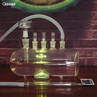 Newly designed glass hookah More stable shisha More healthy Smoking Water Pipe with led light and clear bowl