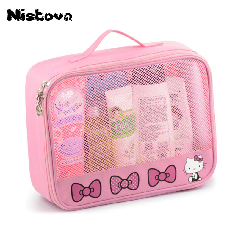 d3f41970ec Hello Kitty Toiletry Shower Bag With Hanging Hook Cosmetic Make Up  Organizer Bag With Mesh Pocket For Girls Women s Vacation