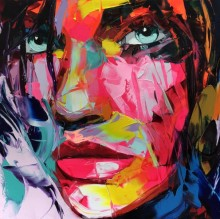 Hand Painted abstract Francoise Nielly designer Cool face Art Untitled 201 Oil Painting Canvens Bedroom hallway Artwork Fine