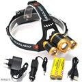 10000 lumens rechargeable led headlamp 3T6 head flashlight torch cree xml t6 head lamp waterproof lights headlight 18650 batte