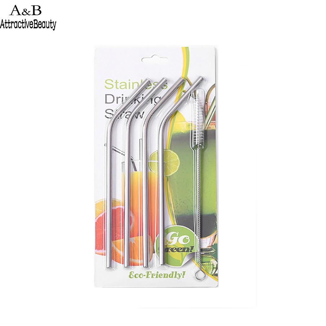Reusable Drinking Straws Stainless Steel Straws Casual 4 x Straws, 1 x with Cleaning Silver Brushes