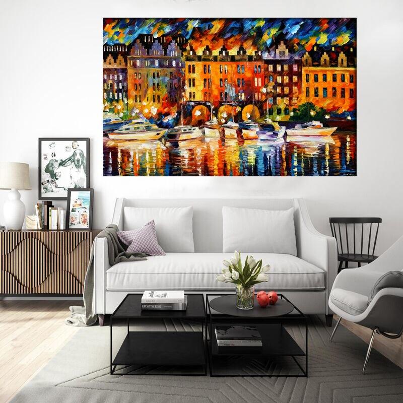 ᐊرسمت باليد خلاصة النفط الطلاء على قماش جدار الفن صور المدينة