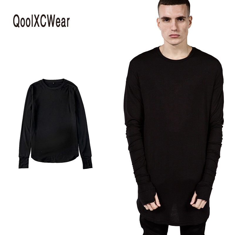 QoolXCWear NEW Thumb Hole Cuffs Long Sleeve Tyga Swag Style Mens Side Split Hip Hop Top Tee   T     Shirt   Crew Wool   T  -  shirt   Men