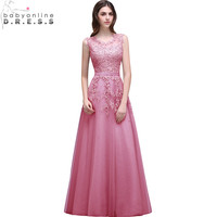 Robe De Soiree New Pink Lace Beaded Long Evening Dress 2016 Sexy Illusion A Line Burgundy