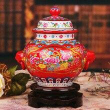 Jingdezhen ceramics enamel red pomegranate general tank modern fashion furniture and ornaments handicraft