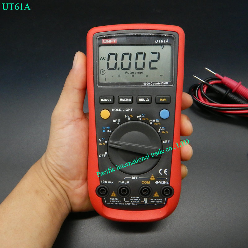 Digital Multimeter UNI-T UT61A High Reliability Professional Electrical Handheld Tester  CD Backlight & Data Hold Multitester ut118b mini multimeter excellent pen measuring electrical induction genuine universal backlight