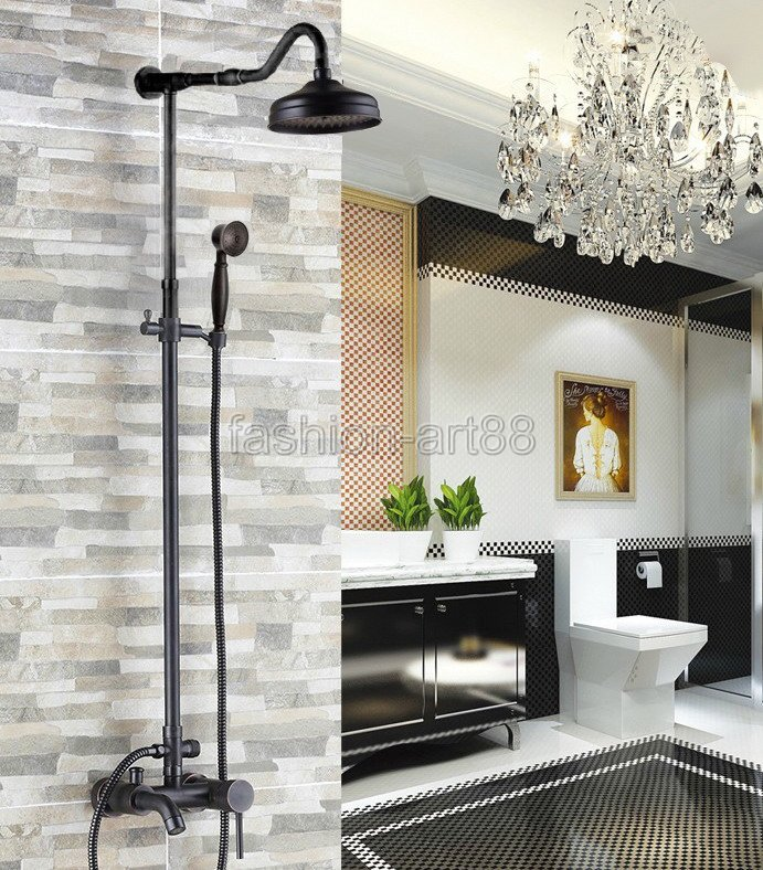 Bathroom Single Lever Handle Black Oil Rubbed Brass Wall Mounted Rain & Hand Shower & Tub Faucet Mixer Tap Set ars601