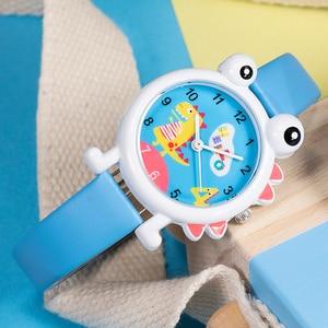 Image 3 - KDM Lovely Cartoon Dinosaur Children Watch Cute Kids Boys Waterproof Watches Genuine Leather Kid Wristwatch Students Clock