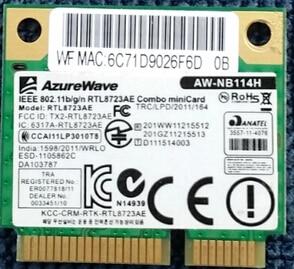 AzureWave AW-NB114H RTL8723AE Half Mini PCI-Express  300M+Bluetooth4.0 Wlan Wireless Wifi Card