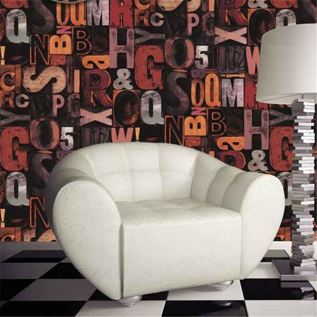Beibehang Industriellen Wind Bump Stereo Englisch Brief Wallpaper Features Retro Bar Cafe Cafe Tapete