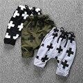 Горячий продавать весенние и осенние детские мальчики девочки случайные свободные тренировочные брюки дети хлопок моды Крест печати шаровары