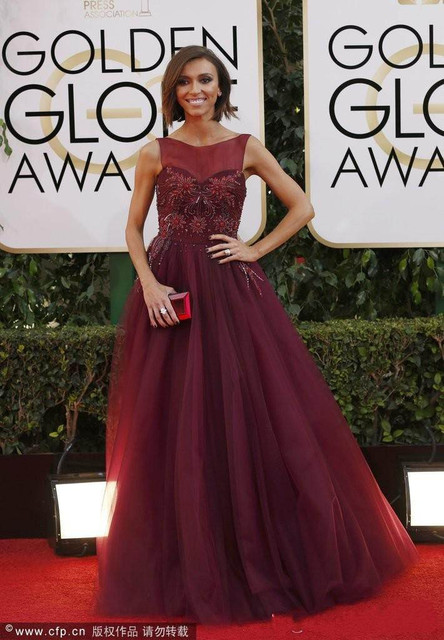 fac67f2972 2017 Exquisite Celebrity Dresses Juliana Clancy Red A-Line Wine Strapless  Sheer Bodice Appliques Tulle