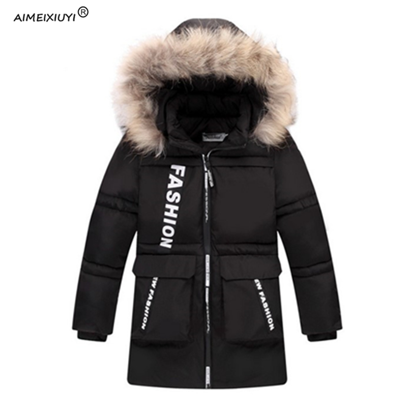 2017 New Boys Winter Medium-Long Outerwear Down & Parkas Children Thicken Padded Fur Collar Hooded Jackets Coat Kids Clothes children winter coats jacket baby boys warm outerwear thickening outdoors kids snow proof coat parkas cotton padded clothes