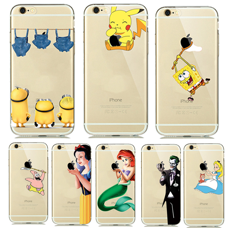 new style 540ac 58cc2 US $1.38 5% OFF|Pokemons Pikachus Case For capa iphone7 8 5s 5 6S 6 TPU  Soft Case Cartoon Animal Mermaid Minion Jorker Funda Touch Logo Design-in  ...