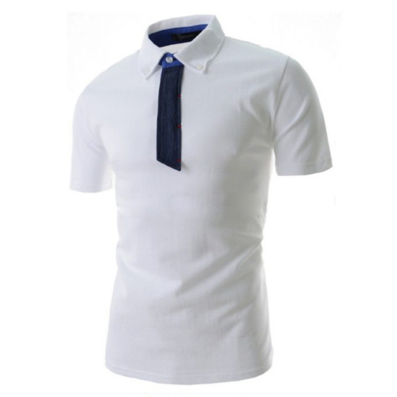 summer tshirt homme hot Solid Mens Short Sleeve T shirt jeans tie design leisure T-shirt fashion slim Student uniform