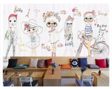 beibehang Modern fashion personality beauty hand-painted children girl show clothing store papel de parede 3d wallpaper