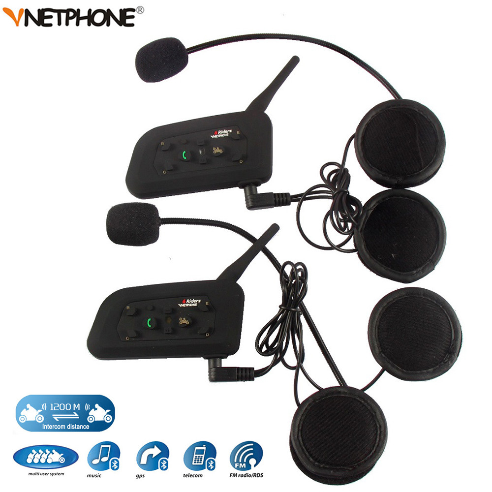 2 pcs 1200 m Sans Fil Bluetooth moto rcycle Casque Interphone 6 Coureurs BT Interphone moto Casque Intercomunicador moto cicleta