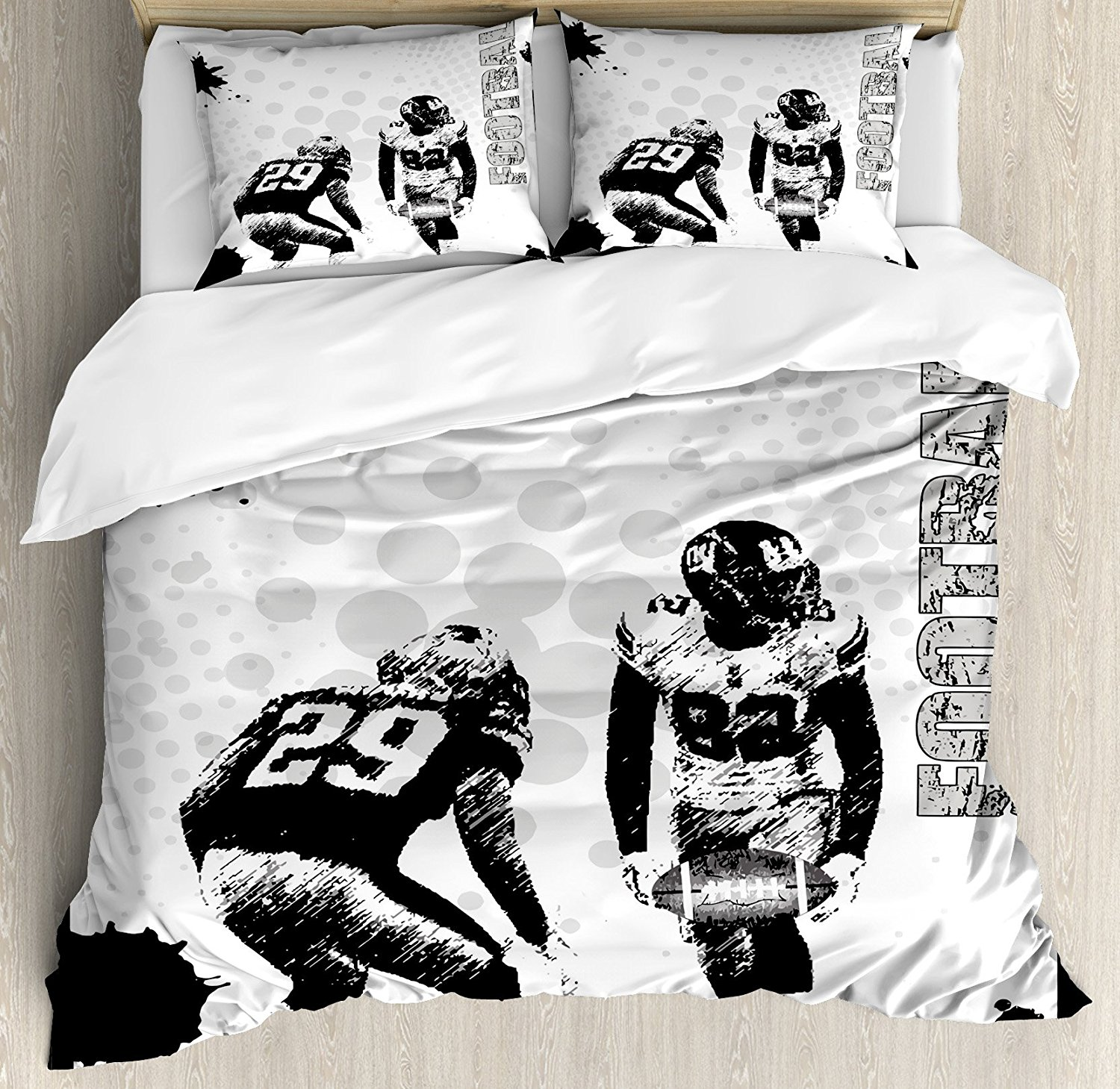 Sports Duvet Cover Set Grungy American Football Image International Team World Cup Kick Play Speed Victory, 4 Piece Bedding Set