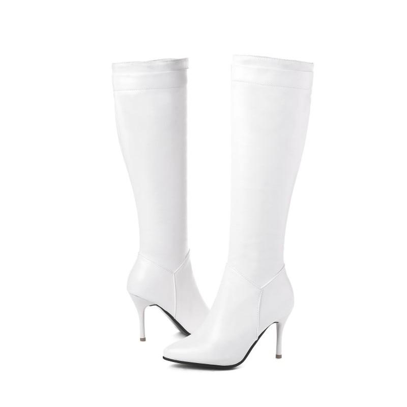 Pointu Femmes Grande Taille black Sexy Peluche white En Super 45 Zip Bottes Blanc Automne Haute Talon Pu Bout Plush Genou Hiver De Black Chaud 2018 Mode Nouveau 34 wRzw1