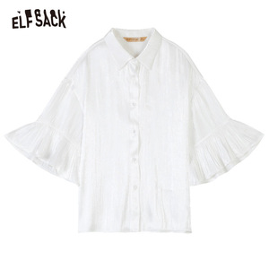 Image 5 - ELFSACK 2019 Summer New Casual Women Blouses Fashion Ruffles Basis Female Shirts Solid Butterfly Sleeve White Womans Clothing