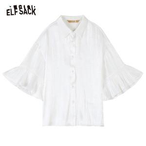 Image 5 - ELFSACK 2019 Zomer Nieuwe Toevallige Vrouwen Blouses Mode Ruches Basis Vrouwelijke Shirts Solid Butterfly Mouwen Wit Vrouw Kleding