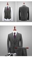 2018 Últimas Escudo Pant Diseños Verde Gris Traje de Tweed Hombres Slim Fit Muesca Solapa Formal 3 Unidades Hechas A Medida (Jacket + Pants + Vest)