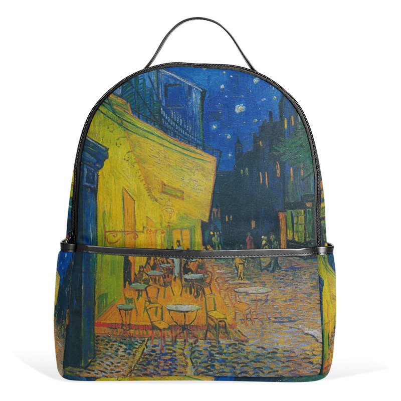 12inch Canvas Backpack Cafe Terrace at Night by Vincent Van Gogh Women Backpack School Bags Book Bag for Teenage Girls Boys Gift 学前儿童心理与教育120问