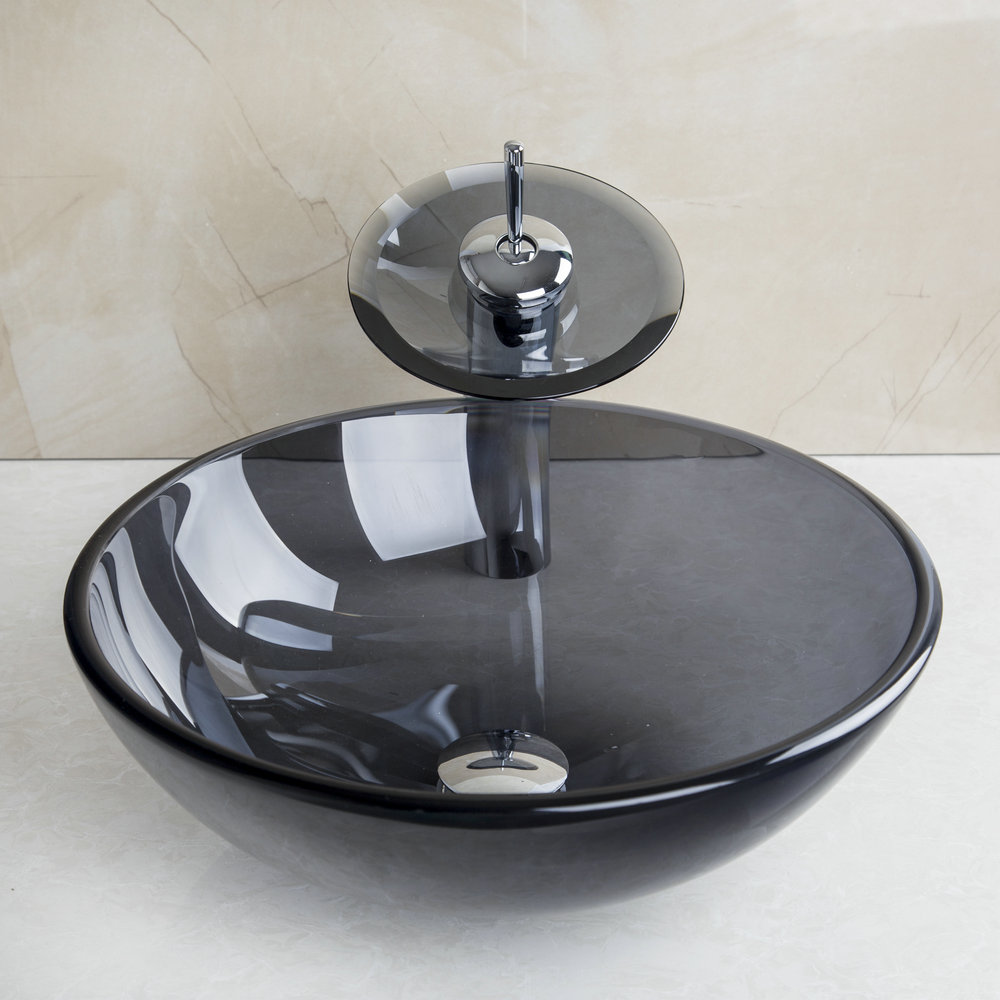Us Fast Free Shipping Bathroom Sink Faucet Clear Black Glass Vessel Bowl W Chrome Faucet