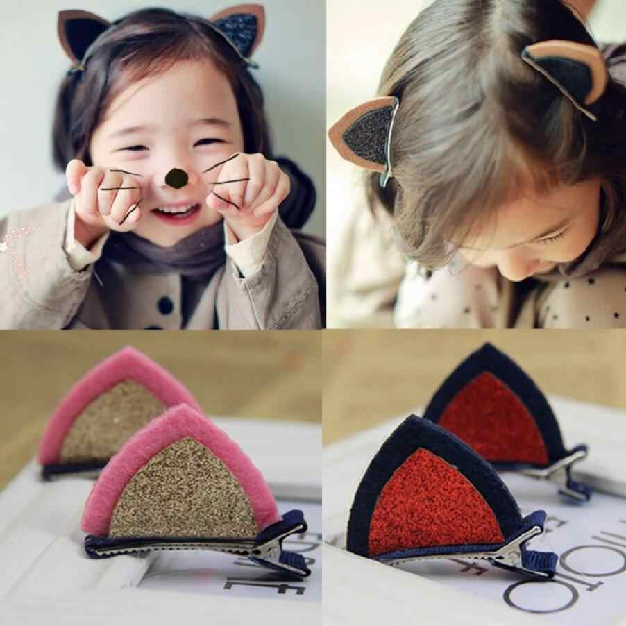 HC 2 pieces =1 pair Children Baby Girl Hair Accessories Clip Kids Hairpin Barrettes Bling Headwear Cute Rabbit Cat Ear Hairpin F