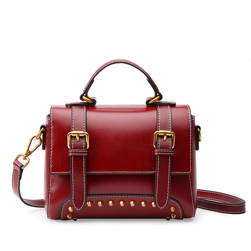 Women's new retro style leather rivet bag Leather bags type cross style shoulder leather Messenger bag