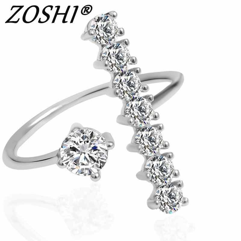 ZOSHI New Fashion Female Wedding Bands Jewelry Rose Gold Silver Plated Engagement Ring for Women CZ Stone Paved Promise Rings