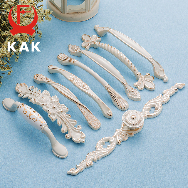 KAK Zinc Aolly Ivory White Cabinet Handles Kitchen Cupboard Door ...