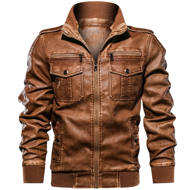 Military Army Mens Motorcycle Leather Jackets Coats Stand Collar Multi-pocket Pu Leather Coat European size S-XXL Dropshipping 5