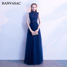 BANVASAC 2018 Vintage High Neck A Line Lace Embroidery Long Evening Dresses Party Bow Sash Open Back Prom Gowns