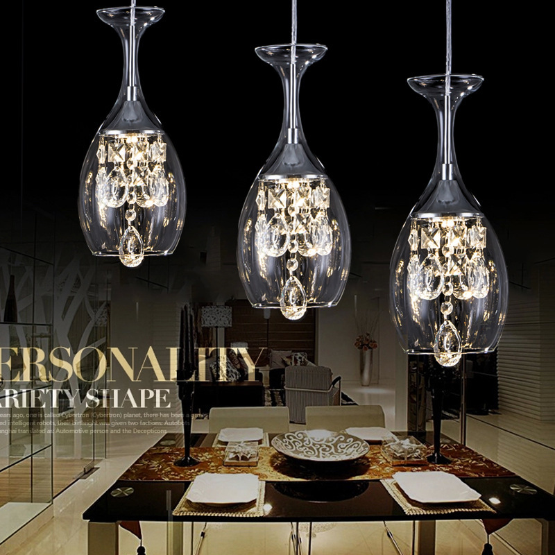 LED crystal pendant restaurant. Living room. Bedroom Wine Glass pendant lamp a1 master bedroom living room lamp crystal pendant lights dining room lamp european style dual use fashion pendant lamps
