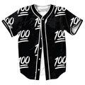 100 Emoji Estilo Jersey de Verano camisas overshirt camisa camisas de Los Hombres de Hip Hop con Solo Pecho camisa Casual