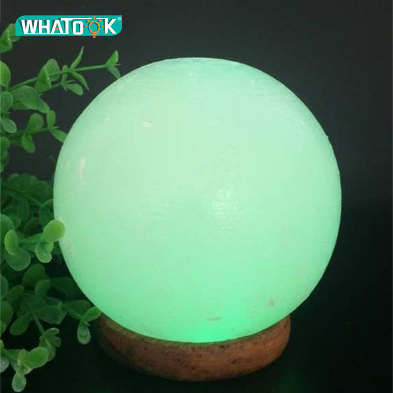 Anion Himalayan LED Salt Lamp Night Lighting 3W Crystal Ball Rock Carved Sphere Changeable USB Lights Decoration Table Desk Gift