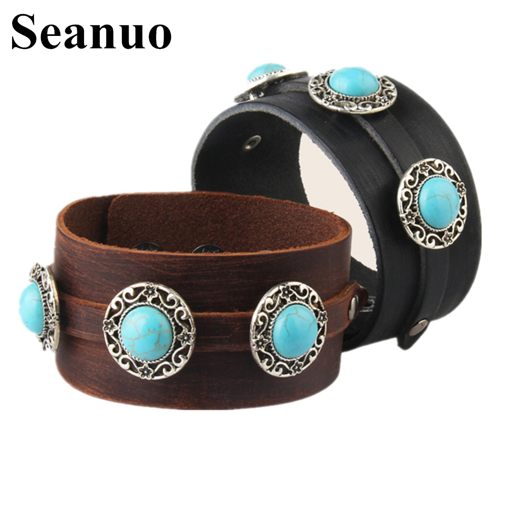Seanuo Diy Big Blue Nature Stone Paved Genuine Leather Bracelets & Bangles  For Men Women Punk Cool Wristband Wrap Biker Bracelet