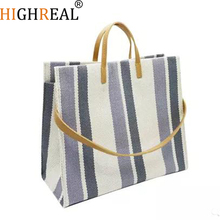 Large Shopping Bag Jumbo Canvas Totes Beach Bag Shoulder Bag Summer Striped Casual Totes 2019 Brand Drop Shipping Wholesale